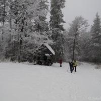 Rozcestí Lukšinec při sestupu z Lysé hory do Ostravice