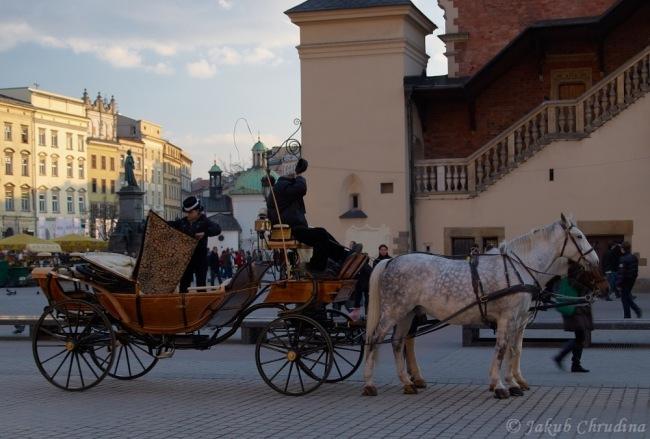 Drožky v ulicích Krakowa
