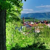 Pohled z parku na Český Těšín a Beskydy