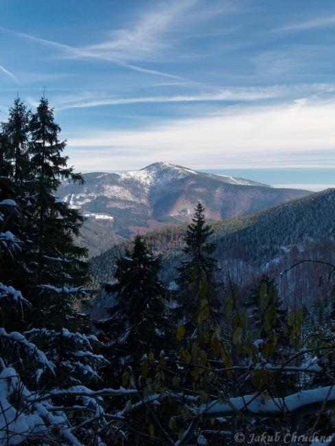 Pohled na Lysou horu z úbočí Smrku